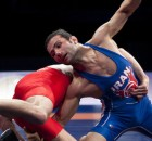Sep 12, 2015; Las Vegas, NV, USA; Hassan Sabzali Rahimi of Iran (blue) competes against Vladimer Khinchegashvili of Georgia (red) in the mens 57kg freestyle on the final day of the World Wrestling Championships at The Orleans Arena. Mandatory Credit: Stephen R. Sylvanie-USA TODAY Sports - RTSTUJ